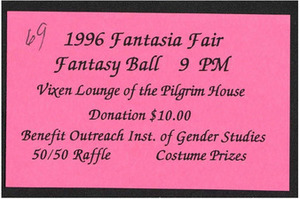 1996 Fantasia Fair Fantasy Ball Ticket