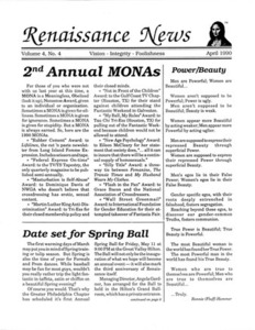 Renaissance News, Vol. 4 No. 4 (April 1990)