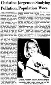 Christine Jorgensen Studying Pollution, Population Woes