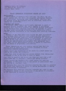 Policy Concerning Photography During Fantasia Fair 1976