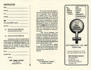 Brochure for the Second Annual New Women's Conference (Sept. 10-13, 1992)