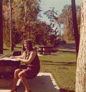 Alison Laing at a Picnic Table