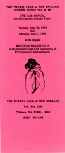 Tiffany Club Brochure for the 12th Annual Provincetown Spring Fling (1992)