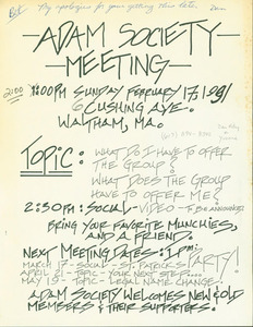 Adam Society Meeting (February, 1991)