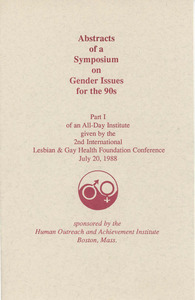 Abstracts of a Symposium on Gender Issues for the 90s (Jul. 20, 1988)