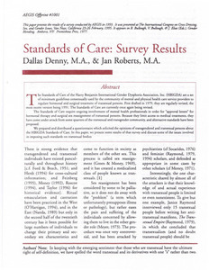 AEGIS Survey Results: Standards of Care