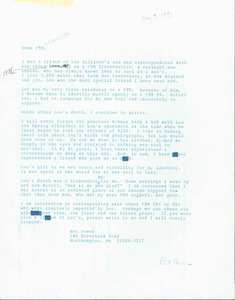 Letter from Bet to FTM Newsletter (May 9, 1991)