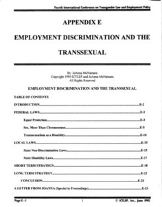 Appendix E: Employment Discrimination and the Transsexual