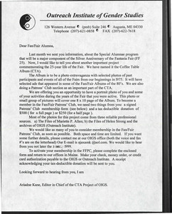 Letter to Alumna and Membership Form (1999)