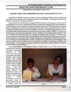 Report from the Workshop, Health and Insurance Law
