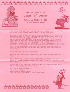 """Can You Come to Our Texas """"T"""" Party? (Feb. 22-24, 1991)"""