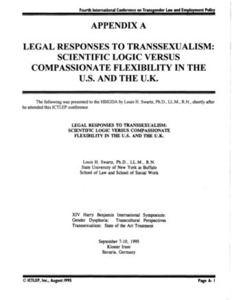Appendix A: Legal Responses to Transsexualism: Scientific Logic Versus Compassionate Flexibility in the U.S. and the U.K.