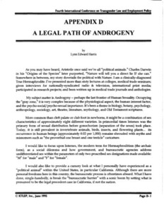 Appendix D: A Legal Path of Androgeny