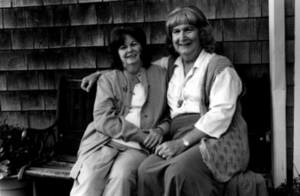 Alison and Dottie Laing Pose on a Bench