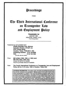 Proceedings from the Third International Conference on Transgender Law and Employment Policy
