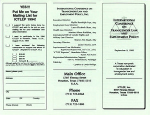 Brochure for International Conference on Transgender Law and Employment Policy (Sept. 9, 1993)