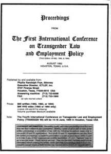 Proceedings from the First International Conference on Transgender Law and Employment Policy