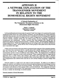 Appendix H: A Network Explanation of the Transgender Movement in Relation to the Homosexual Rights Movement