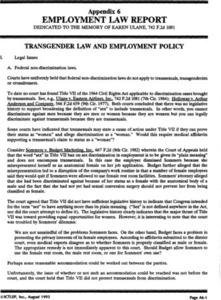 Appendix 6: Employment Law Report