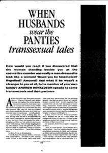When Husbands Wear the Panties: Transsexual Tales