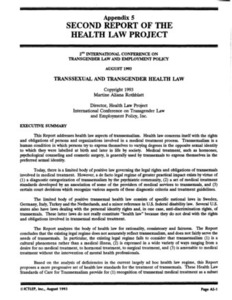 Appendix 5: Second Report of the Health Law Project