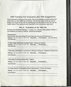 1992 Fantasia Fair Evaluation and 1993 Suggestions Form