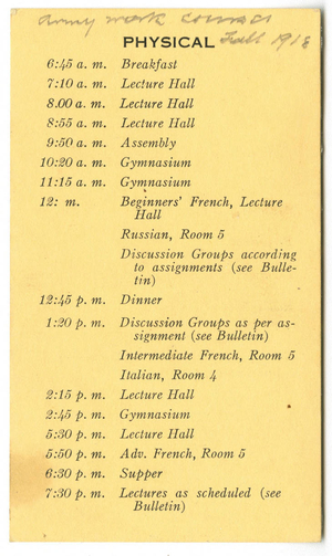 Army War Work Course Schedule (1918)