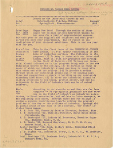 Industrial Course Newsletter (Vol. 1, No. 1), January 1923