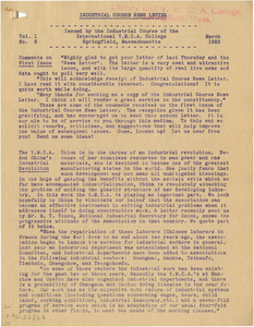 Industrial Course Newsletter (Vol. 1, No. 2), March 1923