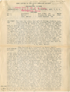 Latin American Society Newsletter (Vol. 1, No. 1) March 1925