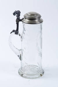 A Blown Glass Stein with a wheel-cut 4F shield and silver plate lid