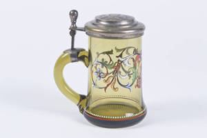 Blown Amber Glass Stein with Enameled Floral Design