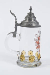 Blown Glass Stein with red 4F Shield and Amber Prunts