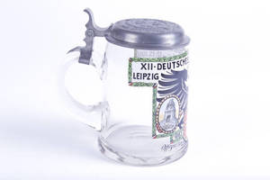 Blown glass stein commemorating 1913 Leipzig Turnfest, signed by Franz Ringer