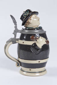 A barrel shaped character stein