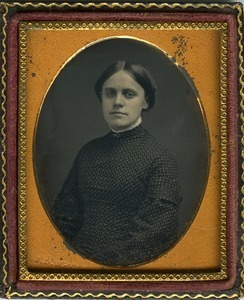 Emily A. Scott: half-length studio portrait, seated, facing the camera