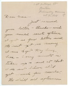 Letter from Arthur Leonard to Grace R. Leonard
