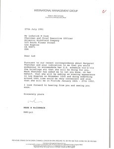 Letter from Mark H. McCormack to Lodwrick M. Cook