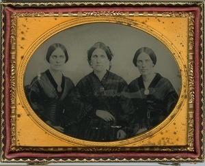 Triple portrait of daughters of Rufus Scott: half-length portrait, seated, of Emily, Cornelia, and Hannah