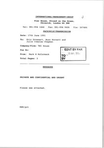 Fax from Mark H. McCormack to Eric Drossart, Buzz Hornett and Julie Ivelaw Chapman