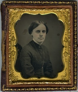 Emily A. Scott Cleveland: half-length studio portrait with rouged cheeks