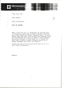 Memorandum from Mark H. McCormack to Jean Sewell