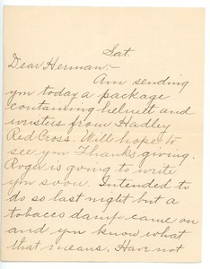 Letter from Aunt Carrie to Herman B. Nash