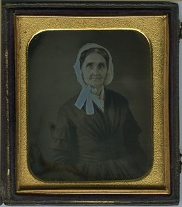 Abigail Barrows Dickinson: half-length studio portrait of older woman wearing a bonnet