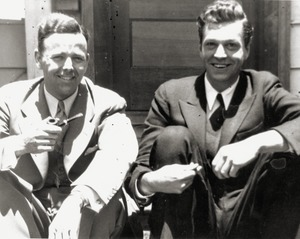 Caleb Foote (left) and Allen Barr, seated on steps