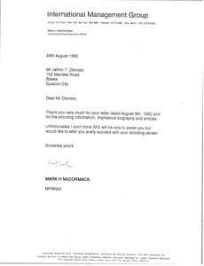 Letter from Mark H. McCormack to Jethro T. Dionisio