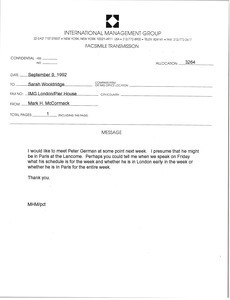 Fax from Mark H. McCormack to Sarah Wooldridge