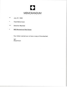 Memorandum from Gretchen Mayfield to Todd McCormack