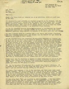 Letter from Caleb Foote to A. J. Muste