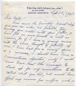 Letter from Eliza Orne White to Caleb Foote